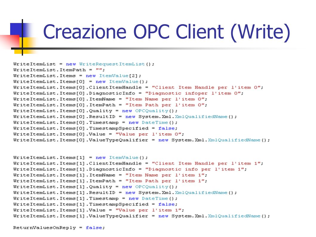 Creazione OPC Client (Write)