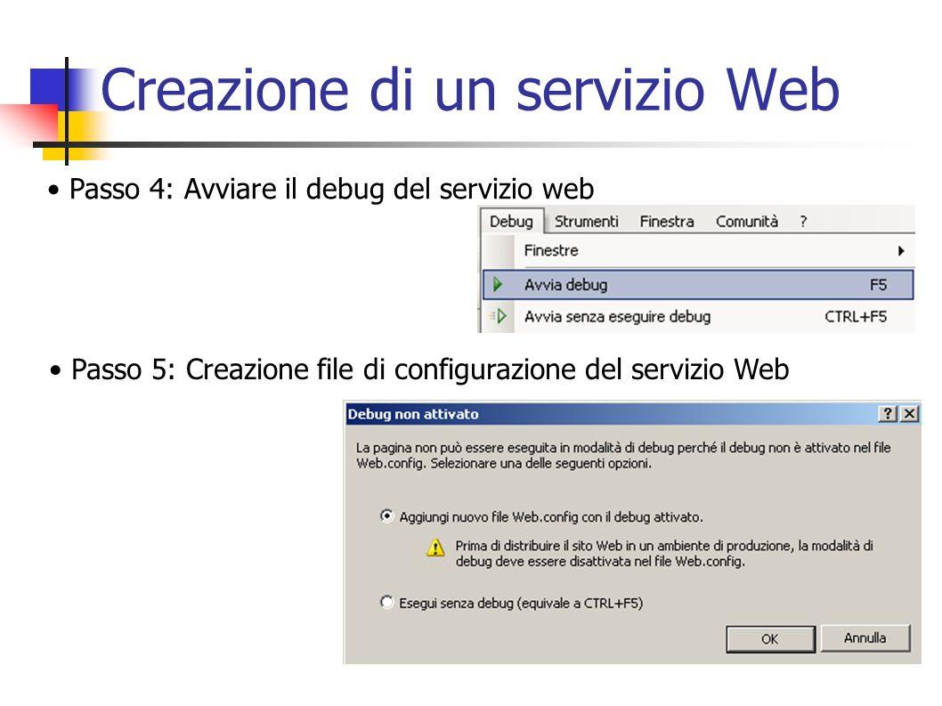 Creazione di un servizio Web Passo 6: Avvio del server di sviluppo integrato ASP.NET Passo 7: Test del servizio Web