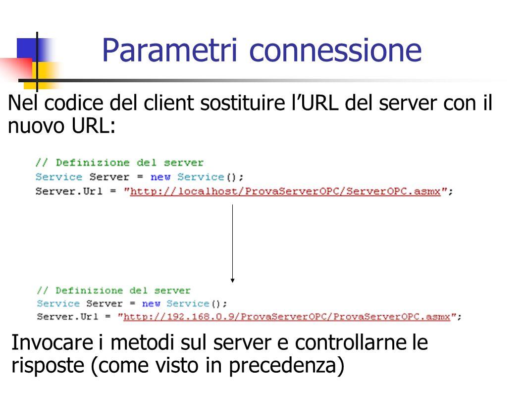 Parametri connessione Nel codice del client sostituire lURL del server con il nuovo URL: Invocare i metodi sul server e controllarne le risposte (come
