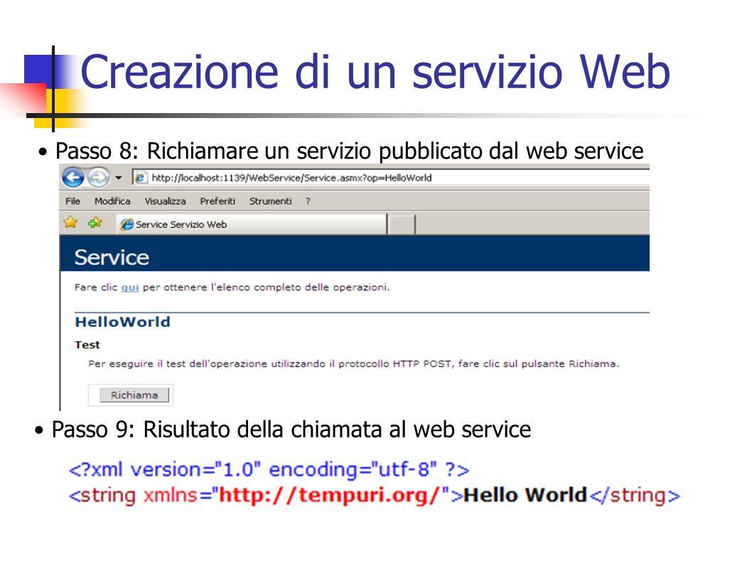 Creazione di un client Passo 3: E necessario aggiungere un riferimento Web nel progetto per permettere al client di dialogare col servizio web precedentemente creato.