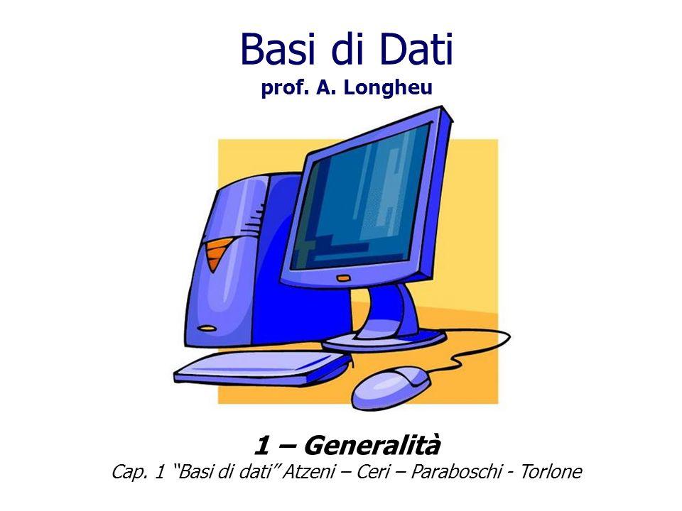 Basi di Dati prof.A. Longheu 1 – Generalità Cap.