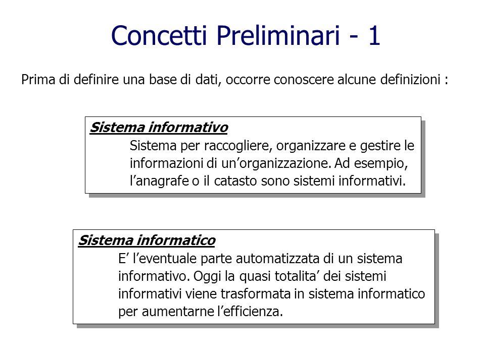 Concetti Preliminari - 1 Prima di definire una base di dati, occorre conoscere alcune definizioni : Sistema informativo Sistema per raccogliere, organizzare e gestire le informazioni di unorganizzazione.