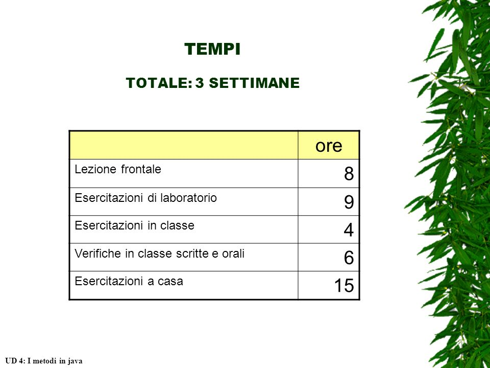 TEMPI TOTALE: 3 SETTIMANE UD 4: I metodi in java ore Lezione frontale 8 Esercitazioni di laboratorio 9 Esercitazioni in classe 4 Verifiche in classe scritte e orali 6 Esercitazioni a casa 15