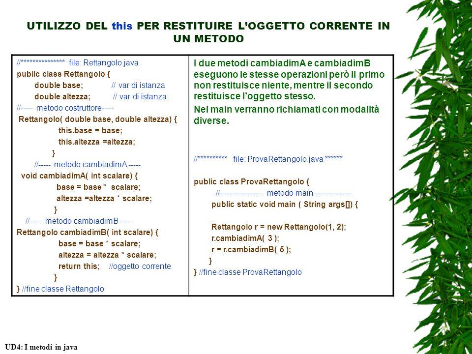 UTILIZZO DEL this PER RESTITUIRE LOGGETTO CORRENTE IN UN METODO UD4: I metodi in java //*************** file: Rettangolo.java public class Rettangolo { double base; // var di istanza double altezza; // var di istanza //----- metodo costruttore----- Rettangolo( double base, double altezza) { this.base = base; this.altezza =altezza; } //----- metodo cambiadimA ----- void cambiadimA( int scalare) { base = base * scalare; altezza =altezza * scalare; } //----- metodo cambiadimB ----- Rettangolo cambiadimB( int scalare) { base = base * scalare; altezza = altezza * scalare; return this; //oggetto corrente } } //fine classe Rettangolo I due metodi cambiadimA e cambiadimB eseguono le stesse operazioni però il primo non restituisce niente, mentre il secondo restituisce loggetto stesso.