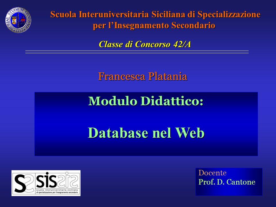Il modulo, pensato per una quinta classe Indirizzo Informatico, ha lo scopo di presentare gli strumenti per la connessione e lutilizzo dei database relazionali mediante java server page (JSP).