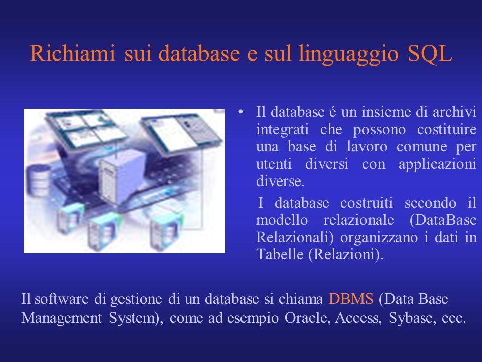 Richiami sui database e sul linguaggio SQL Il database é un insieme di archivi integrati che possono costituire una base di lavoro comune per utenti d