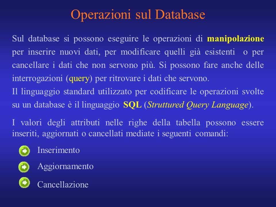 Sul database si possono eseguire le operazioni di manipolazione per inserire nuovi dati, per modificare quelli già esistenti o per cancellare i dati c