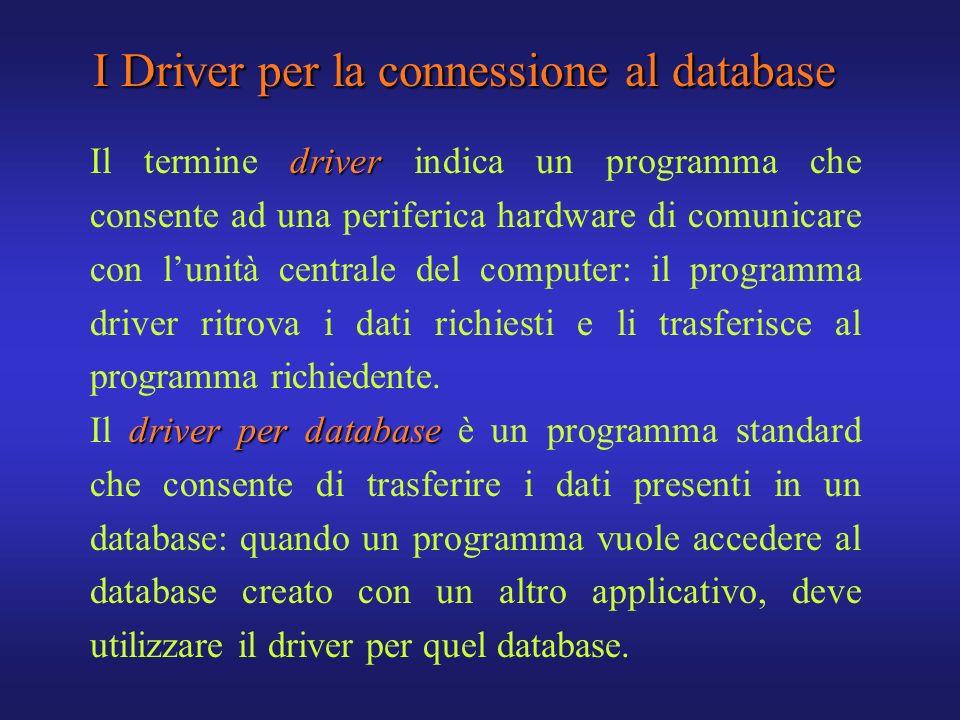 I Driver per la connessione al database driver Il termine driver indica un programma che consente ad una periferica hardware di comunicare con lunità