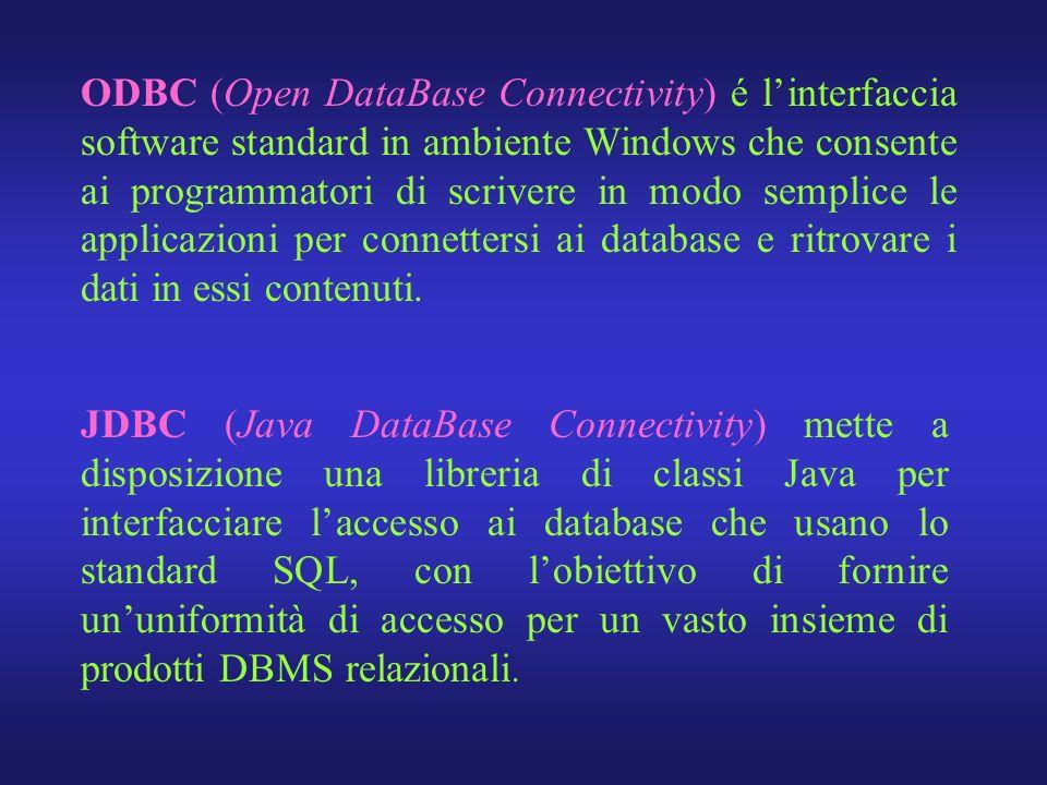 JDBC (Java DataBase Connectivity) mette a disposizione una libreria di classi Java per interfacciare laccesso ai database che usano lo standard SQL, c