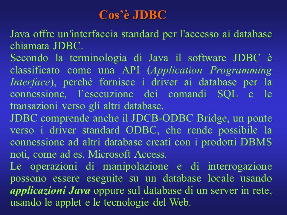 Cosè JDBC Java offre un'interfaccia standard per l'accesso ai database chiamata JDBC. Secondo la terminologia di Java il software JDBC è classificato