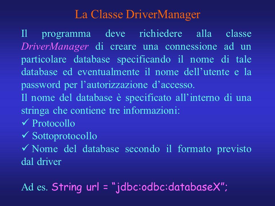 Il programma deve richiedere alla classe DriverManager di creare una connessione ad un particolare database specificando il nome di tale database ed e