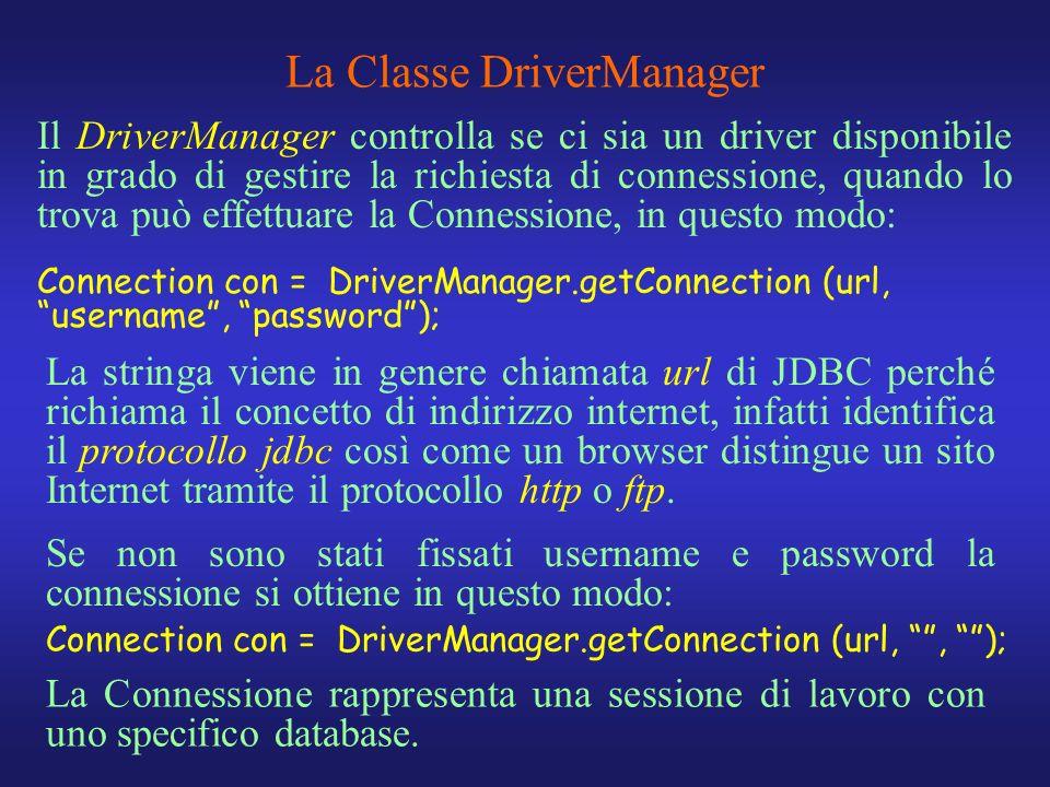Il DriverManager controlla se ci sia un driver disponibile in grado di gestire la richiesta di connessione, quando lo trova può effettuare la Connessi