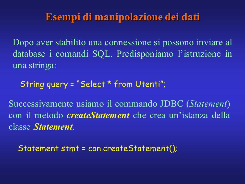 Esempi di manipolazione dei dati Dopo aver stabilito una connessione si possono inviare al database i comandi SQL. Predisponiamo listruzione in una st