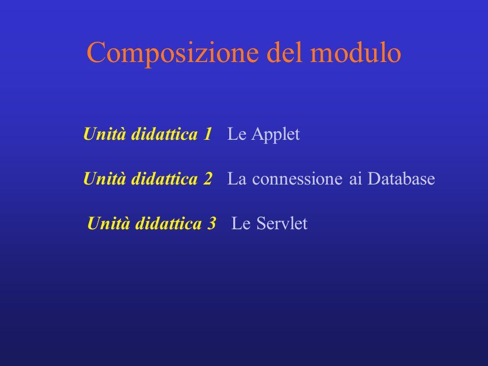 Composizione del modulo Unità didattica 1 Le Applet Unità didattica 2 La connessione ai Database Unità didattica 3 Le Servlet