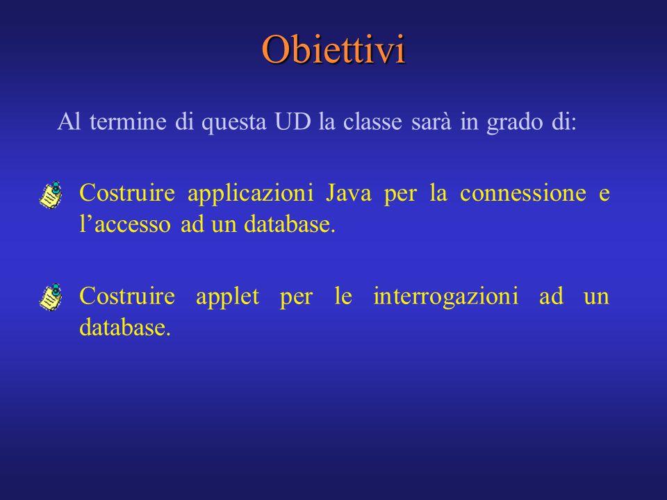 Obiettivi Al termine di questa UD la classe sarà in grado di: Costruire applet per le interrogazioni ad un database. Costruire applicazioni Java per l