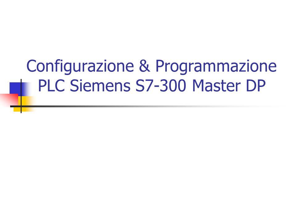 Configurazione Creare Oggetto Profibus DP Connettere l interfaccia DP alla rete Profibus Optional: Aggiungere File GSD Inserire Slaves Assegnare Indirizzi DP Configurare la rete