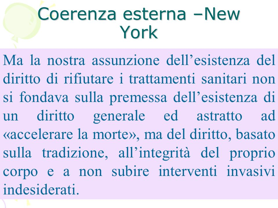Coerenza esterna –New York Ma la nostra assunzione dellesistenza del diritto di rifiutare i trattamenti sanitari non si fondava sulla premessa dellesi