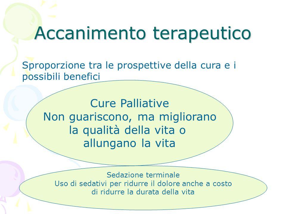 Accanimento terapeutico Sproporzione tra le prospettive della cura e i possibili benefici Cure Palliative Non guariscono, ma migliorano la qualità del