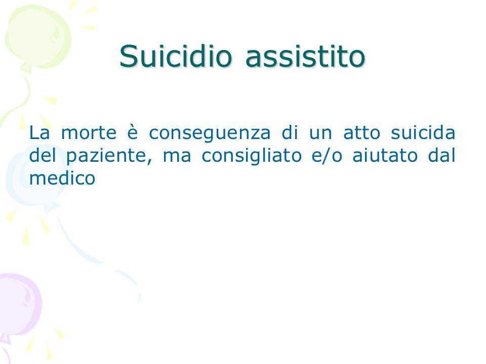 Suicidio assistito La morte è conseguenza di un atto suicida del paziente, ma consigliato e/o aiutato dal medico
