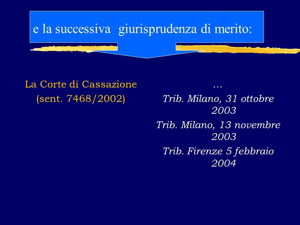 La Corte di Cassazione (sent. 7468/2002) … Trib. Milano, 31 ottobre 2003 Trib.