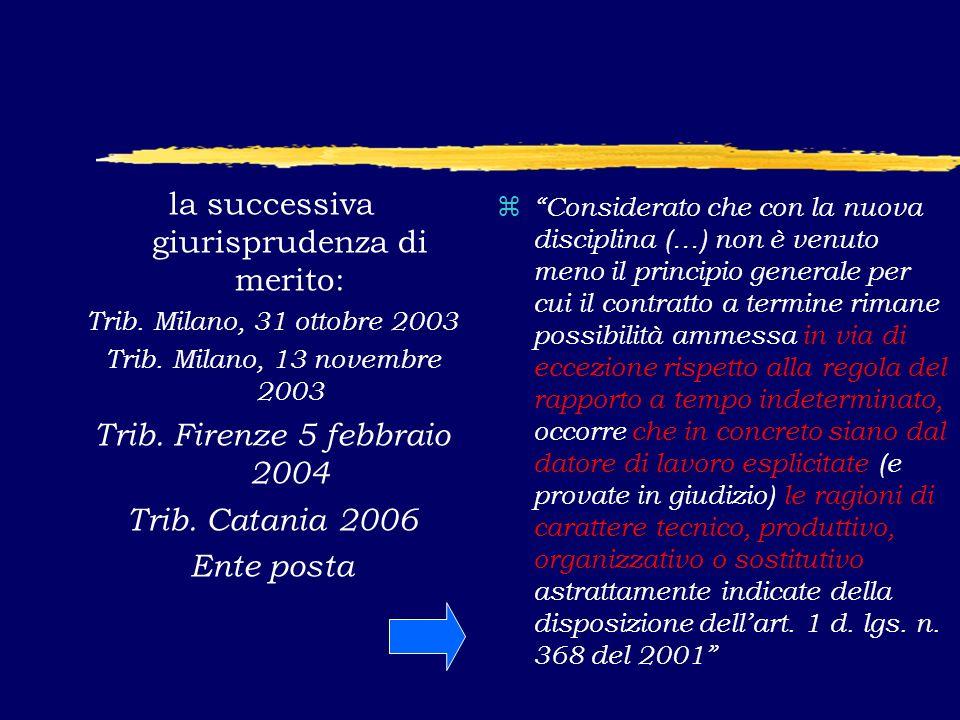 la successiva giurisprudenza di merito: Trib. Milano, 31 ottobre 2003 Trib.