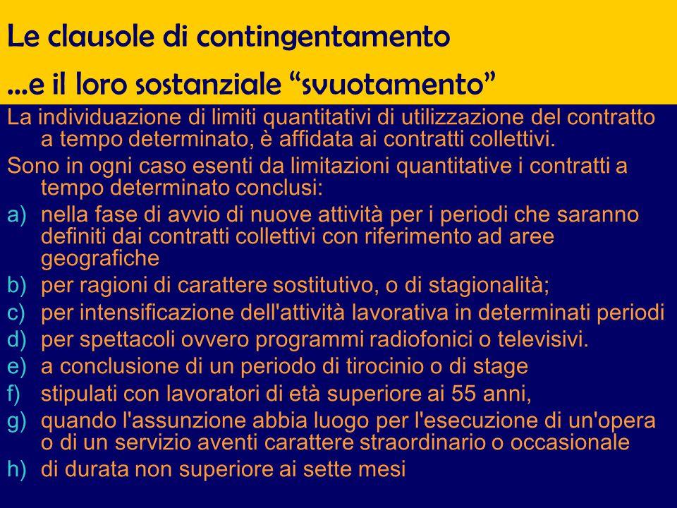Le clausole di contingentamento La individuazione di limiti quantitativi di utilizzazione del contratto a tempo determinato, è affidata ai contratti collettivi.