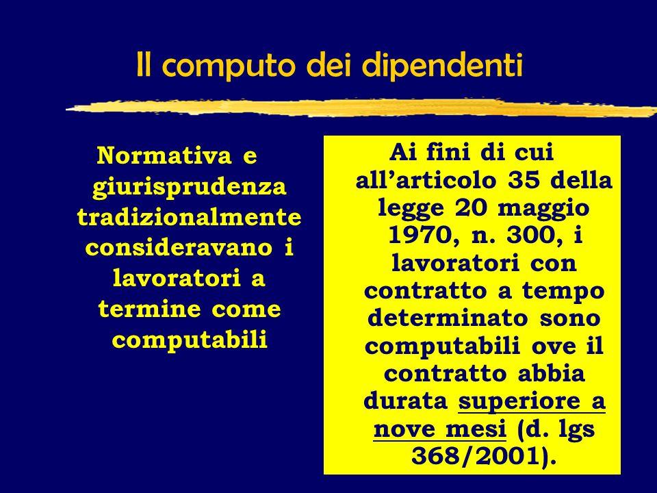 Il computo dei dipendenti Normativa e giurisprudenza tradizionalmente consideravano i lavoratori a termine come computabili Ai fini di cui allarticolo 35 della legge 20 maggio 1970, n.