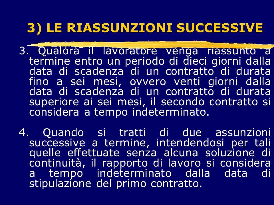 3) LE RIASSUNZIONI SUCCESSIVE 3.