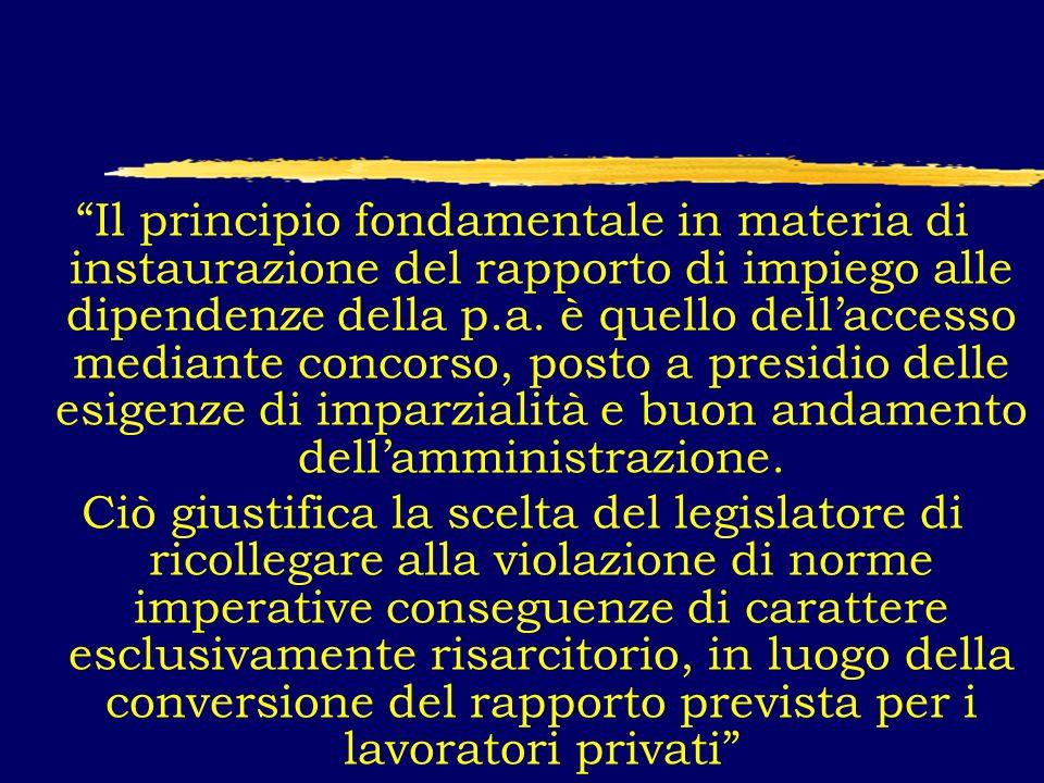 Il principio fondamentale in materia di instaurazione del rapporto di impiego alle dipendenze della p.a.