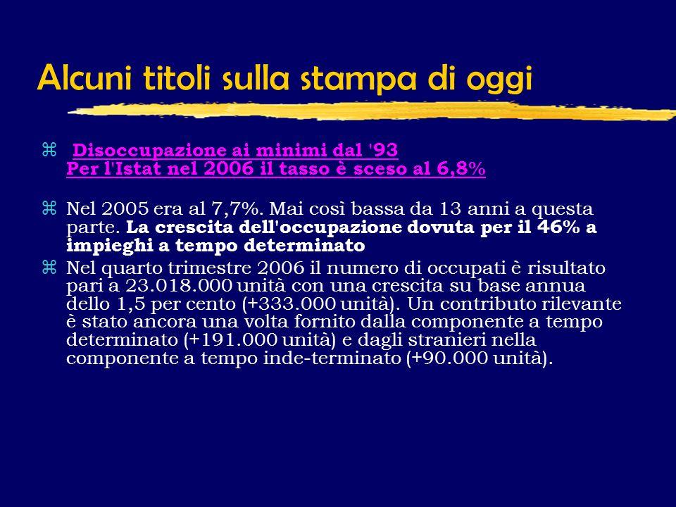 Alcuni titoli sulla stampa di oggi z Disoccupazione ai minimi dal 93 Per l Istat nel 2006 il tasso è sceso al 6,8%Disoccupazione ai minimi dal 93 Per l Istat nel 2006 il tasso è sceso al 6,8% zNel 2005 era al 7,7%.