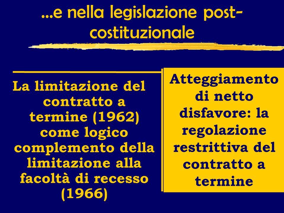 …e nella legislazione post- costituzionale La limitazione del contratto a termine (1962) come logico complemento della limitazione alla facoltà di recesso (1966) Atteggiamento di netto disfavore: la regolazione restrittiva del contratto a termine