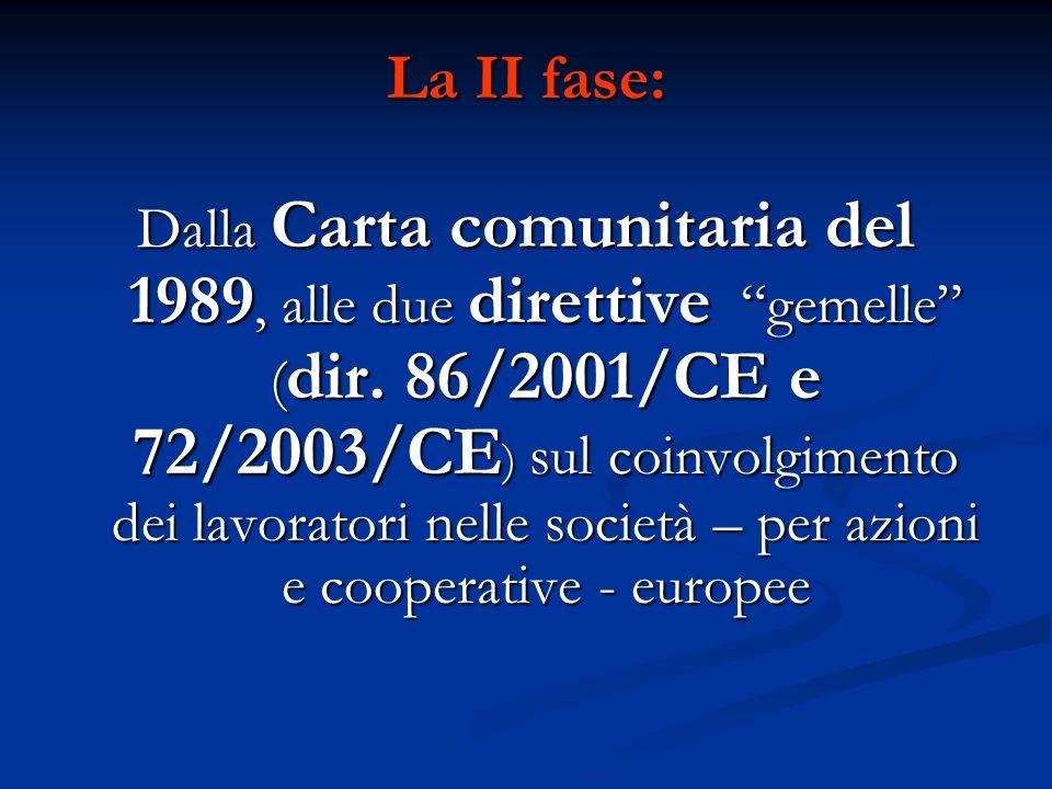 La II fase: Dalla Carta comunitaria del 1989, alle due direttive gemelle ( dir. 86/2001/CE e 72/2003/CE ) sul coinvolgimento dei lavoratori nelle soci