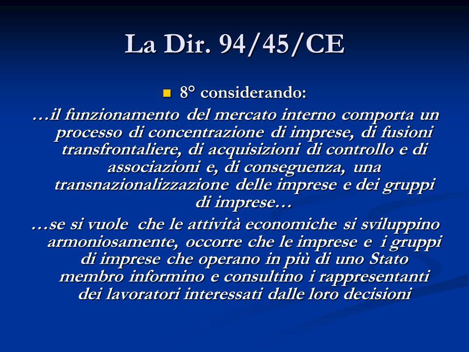 La Dir. 94/45/CE 8° considerando: 8° considerando: …il funzionamento del mercato interno comporta un processo di concentrazione di imprese, di fusioni