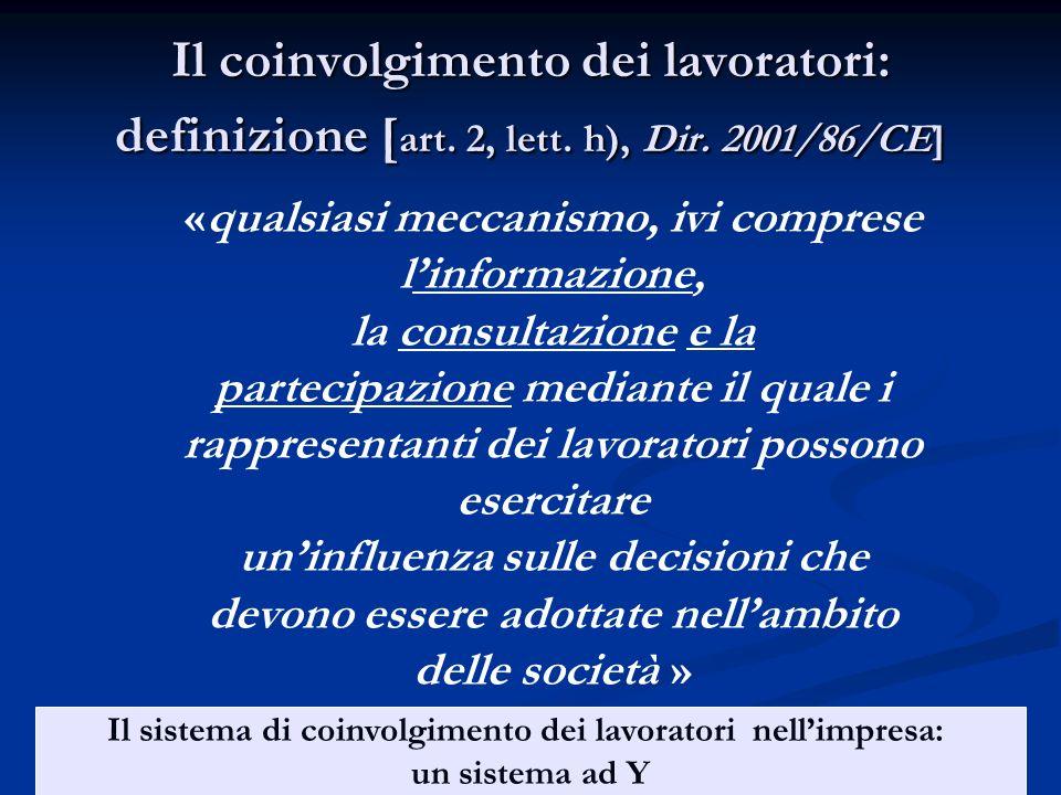 Il coinvolgimento dei lavoratori: definizione [ art. 2, lett. h), Dir. 2001/86/CE] «qualsiasi meccanismo, ivi comprese linformazione, la consultazione