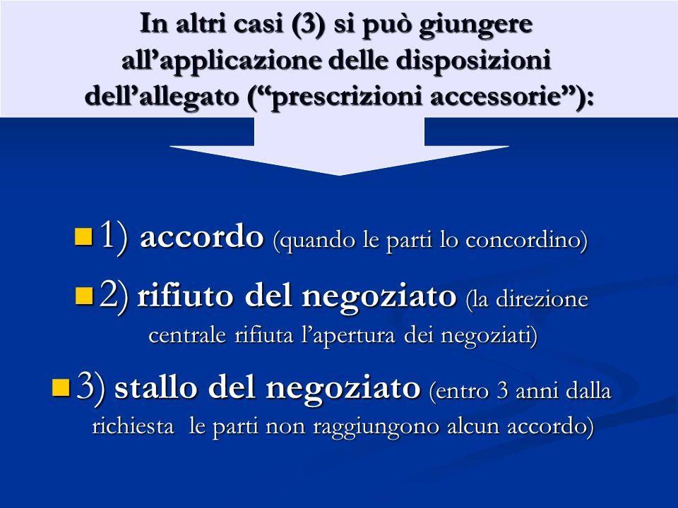 1) accordo (quando le parti lo concordino) 1) accordo (quando le parti lo concordino) 2) rifiuto del negoziato (la direzione centrale rifiuta lapertur