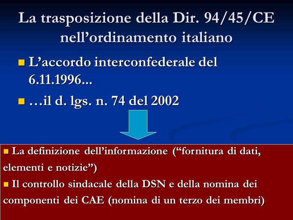La trasposizione della Dir. 94/45/CE nellordinamento italiano Laccordo interconfederale del 6.11.1996... Laccordo interconfederale del 6.11.1996... …i