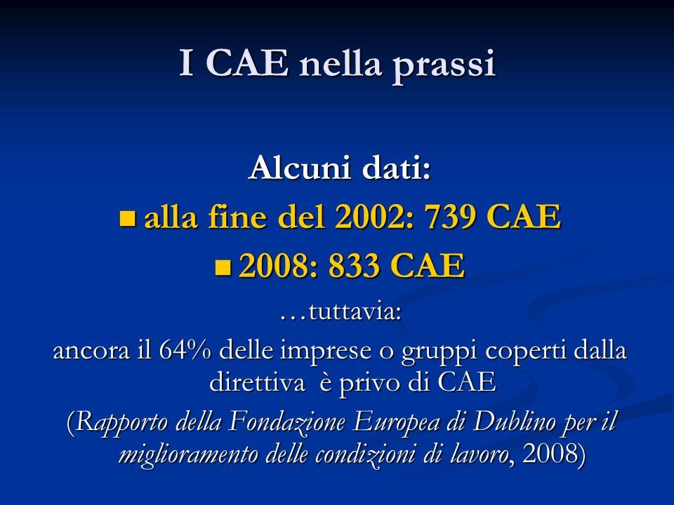 I CAE nella prassi Alcuni dati: alla fine del 2002: 739 CAE alla fine del 2002: 739 CAE 2008: 833 CAE 2008: 833 CAE…tuttavia: ancora il 64% delle impr
