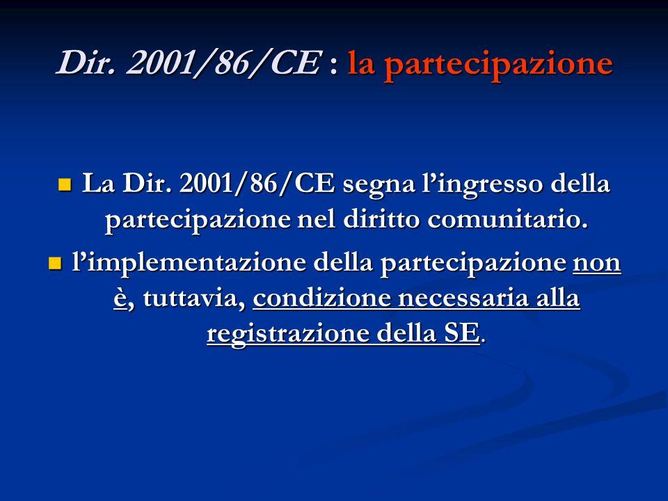 Dir. 2001/86/CE : la partecipazione La Dir. 2001/86/CE segna lingresso della partecipazione nel diritto comunitario. La Dir. 2001/86/CE segna lingress