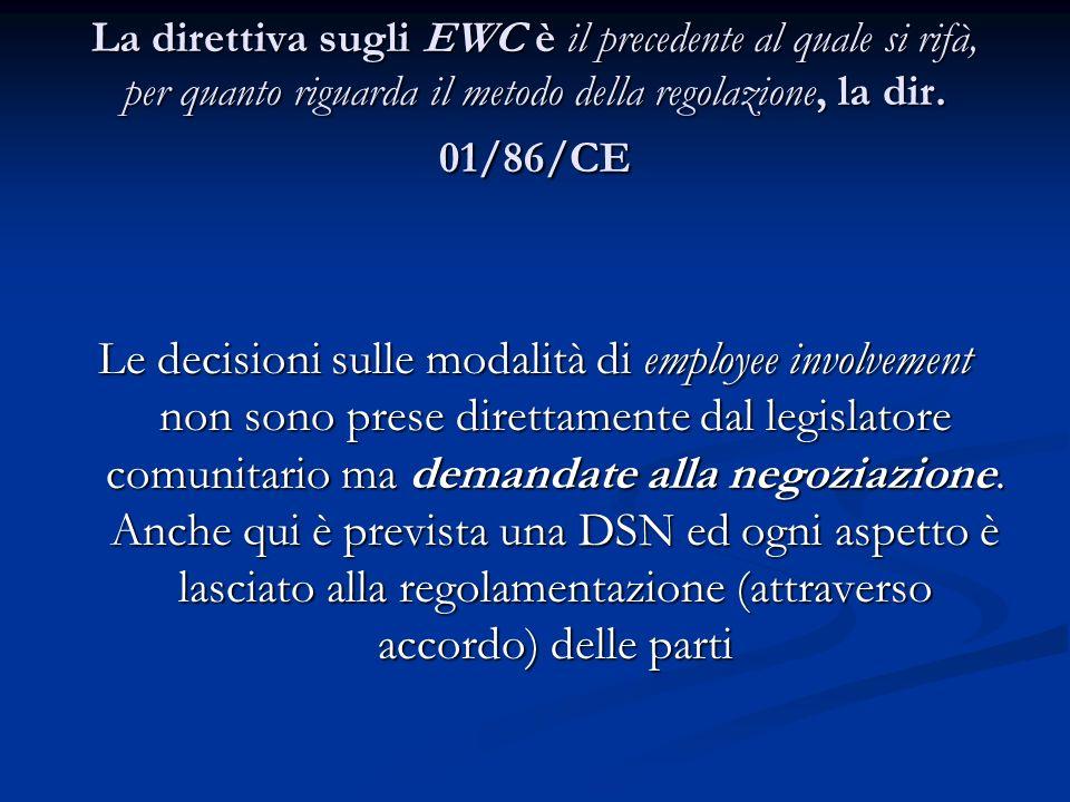La direttiva sugli EWC è il precedente al quale si rifà, per quanto riguarda il metodo della regolazione, la dir. 01/86/CE Le decisioni sulle modalità