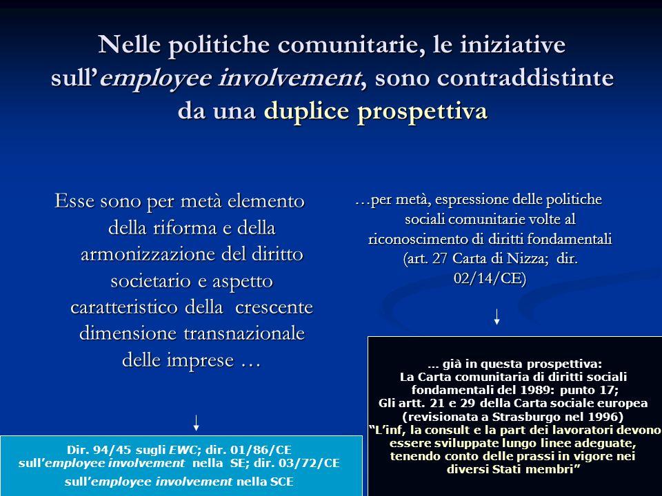 Nelle politiche comunitarie, le iniziative sullemployee involvement, sono contraddistinte da una duplice prospettiva Esse sono per metà elemento della