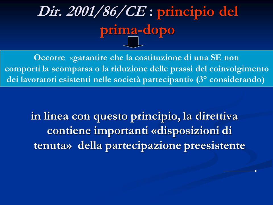 Dir. 2001/86/CE : principio del prima-dopo in linea con questo principio, la direttiva contiene importanti «disposizioni di tenuta» della partecipazio