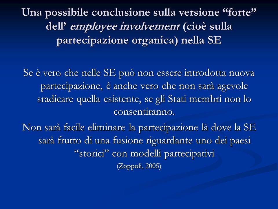 Una possibile conclusione sulla versione forte dell employee involvement (cioè sulla partecipazione organica) nella SE Se è vero che nelle SE può non
