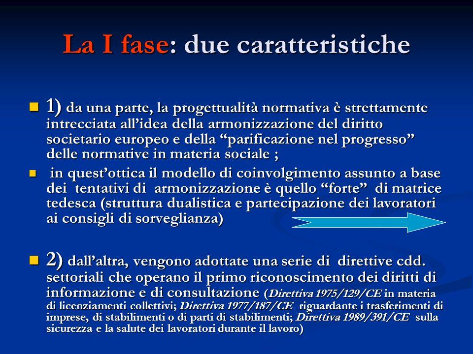 La I fase: due caratteristiche 1) da una parte, la progettualità normativa è strettamente intrecciata allidea della armonizzazione del diritto societa