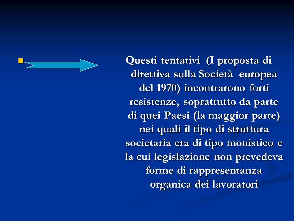 Anni 80 Versioni modificate delle due proposte: di direttiva e regolamento sulla SE (1989) di direttiva e regolamento sulla SE (1989) di V direttiva (1983) di V direttiva (1983) Vi si propongono, in alternativa alla partecipazione, modelli diversi di coinvolgimento