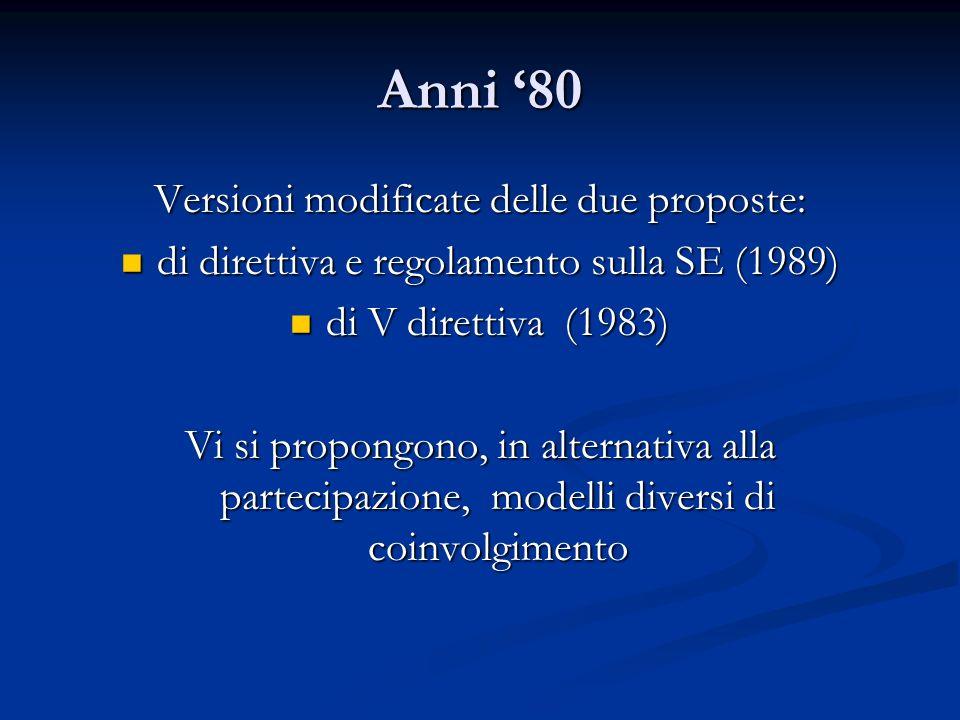 Anni 80 Versioni modificate delle due proposte: di direttiva e regolamento sulla SE (1989) di direttiva e regolamento sulla SE (1989) di V direttiva (