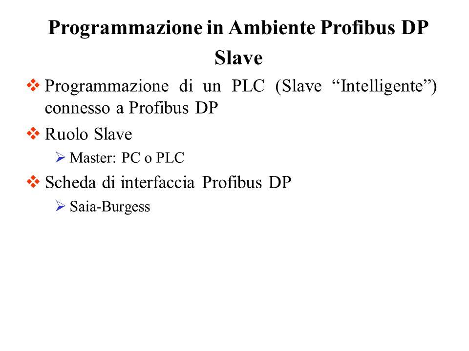 Programmazione di un PLC (Slave Intelligente) connesso a Profibus DP Ruolo Slave Master: PC o PLC Scheda di interfaccia Profibus DP Saia-Burgess Progr