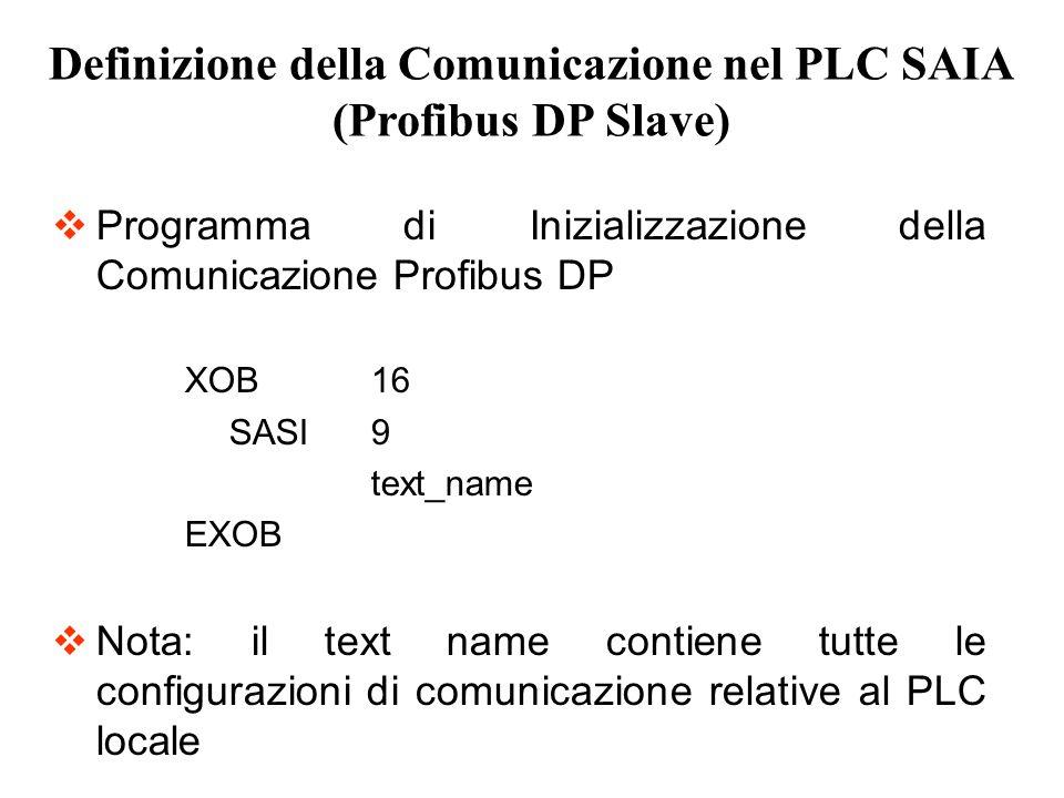 Programma di Inizializzazione della Comunicazione Profibus DP XOB16 SASI9 text_name EXOB Nota: il text name contiene tutte le configurazioni di comuni