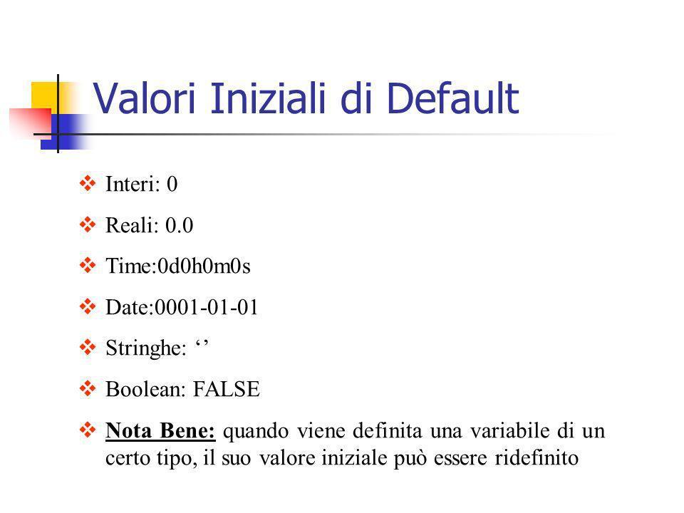 Interi: 0 Reali: 0.0 Time:0d0h0m0s Date:0001-01-01 Stringhe: Boolean: FALSE Nota Bene: quando viene definita una variabile di un certo tipo, il suo va