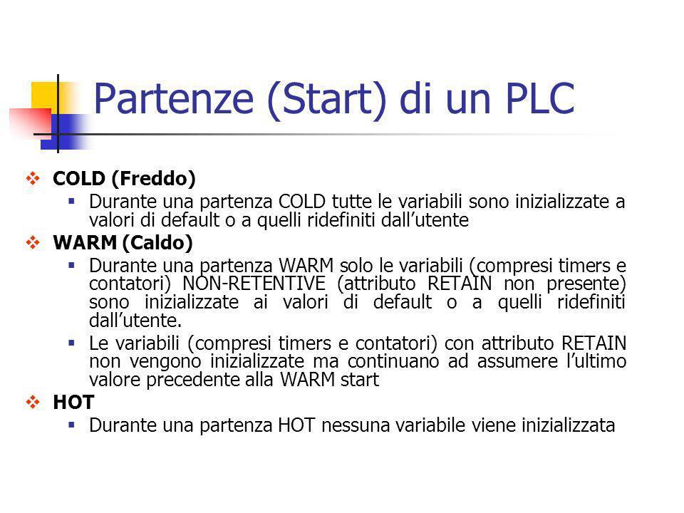 Partenze (Start) di un PLC COLD (Freddo) Durante una partenza COLD tutte le variabili sono inizializzate a valori di default o a quelli ridefiniti dal