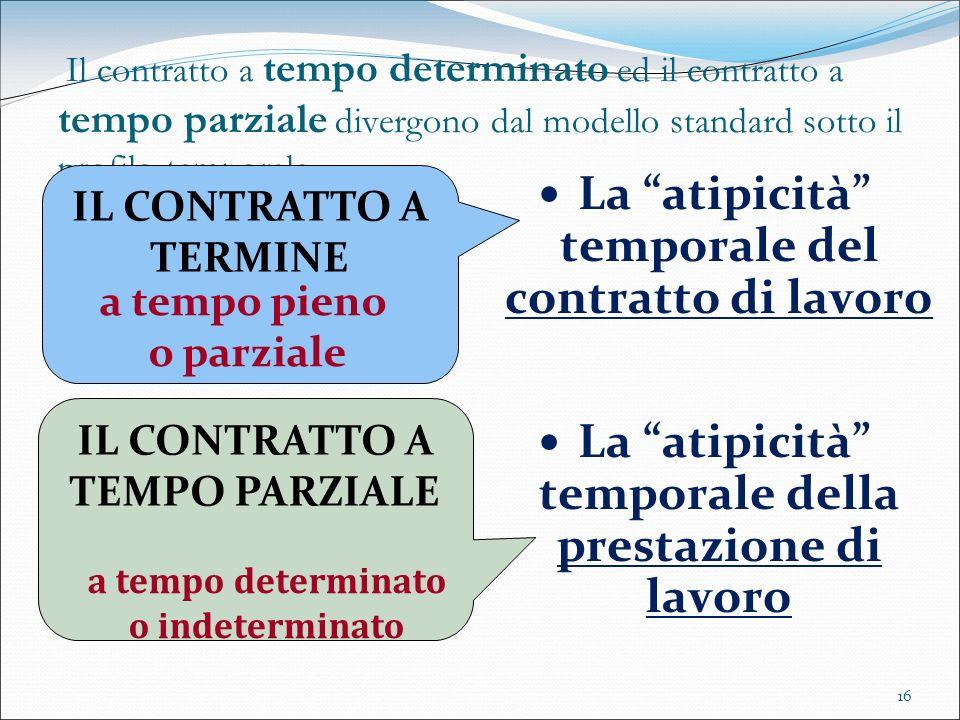 16 Il contratto a tempo determinato ed il contratto a tempo parziale divergono dal modello standard sotto il profilo temporale La atipicità temporale